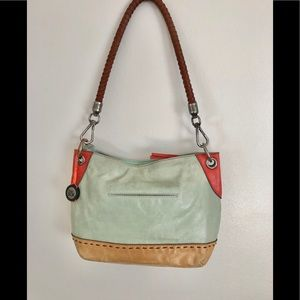 The Sak Leather Mint Green & Tan Rope Strap Bag